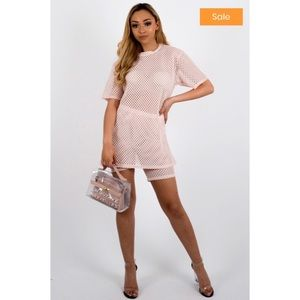 Nude pink mesh two piece set